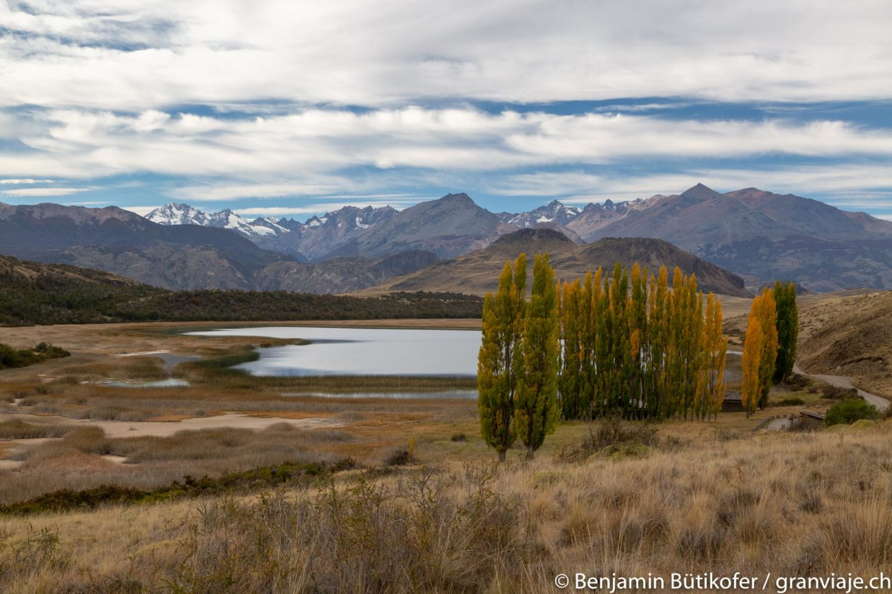 View of Parque Patagonia, mountains, a lake and trees